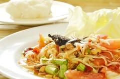 Somtum Tajlandzki korzenny zielony melonowiec i czarna kiszona krab sałatka z kleistymi ryż Zdjęcia Stock