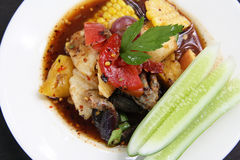 Somtum Thai Food. Corn and Mixed Fruit Salad ,Somtum Thai Food stock photography