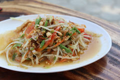 Somtum. Thai food and spicy food on a white dish Stock Photography