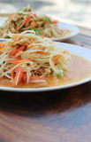 Somtum. Thai food and spicy food on a white dish Stock Images