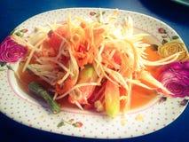 Somtum Thai food. Thai traditional spicy food papaya salad called Somtum stock image