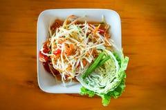 Somtum or Thai papaya salad. Papaya salad - famous and popular street food in Thailand Royalty Free Stock Image