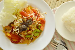 Somtum Thai spicy green papaya and black pickled crab salad eat with sticky rice. Somtum Thai spicy green papaya and black pickled crab salad on dish eat with Stock Photos