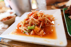 Papaya salad somtum thaifood. Somtum Thai spicy papaya salad stock image