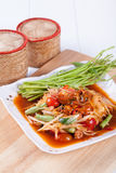 Somtum(tum hoi dong), papaya salad delicious food in thailand.  Stock Photography