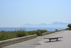 Son Baulo Majorca. Ocean view with mountains in Son Baulo, Can Picafort, Majorca Stock Images