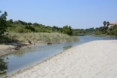 Son Baulo river. Can Picafort, Mallorca, Balearic islands, Spain on July 12, 2013 Stock Images