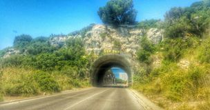 Son Bou tunnel. MENORCA TUNNEL SON Bou 2015 minorca balaeric island Royalty Free Stock Photography