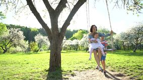 Son boy swinging mother and sister on wood swing in blooming garden. Static shot stock video footage
