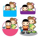 Happy family sign son and daughter. Son and daughter badge sign family concept design royalty free stock photos