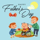 Son and daughter care disable parent, dad sitting in wheelchair, happy fathers day background, senior handicap man woman Royalty Free Stock Images