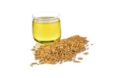 Son de riz de plan rapproché avec de l'huile de son en verre sur le blanc Photos stock