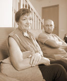 Son and elderly mother during  quarrel Stock Images