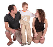 Son embraces parents. On white Royalty Free Stock Image