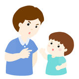 Son and father arguing  illustration Royalty Free Stock Photo