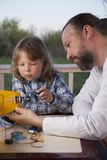 Son and father made homemade radio-controlled model aircraft ai royalty free stock photos