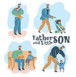 Son and father. stock illustration