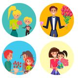 Family Members with Presents on Womens Day Set. Son gives his mother flowers, man with roses and diamond, father gives tulips to wife, mother and daughter with Vector Illustration