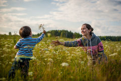 Son gives mom flowers. On the meadow stock photo