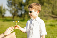 Son giving a bouquet of flowers to his mother in a field. Happy cute son giving a bouquet of flowers to his mother in a sunny field Stock Photo