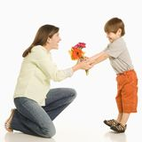Son giving mother flowers. Royalty Free Stock Photos
