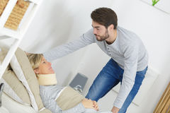 Son helping diabled mother. Son helping his diabled mother Stock Photos