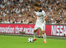 Son Heung-Min. Football players pictured during the 2016/17 UEFA Champions League Group E game between Tottenham Hotspur and AS Monaco on September 14, 2016 at Royalty Free Stock Images