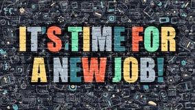 Son heure pour un nouveau travail dans multicolore Conception de griffonnage Photos libres de droits