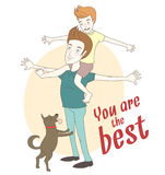 Son on his father's shoulders with their dog. Hand drawn style Royalty Free Stock Image