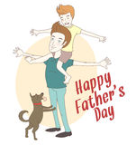 Son on his father's shoulders with their dog. Hand drawn style Stock Image