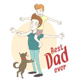 Son on his father's shoulders with their dog. Hand drawn style Royalty Free Stock Photos