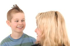 Son and his mother having fun Stock Image