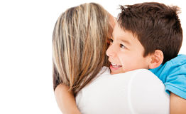 Son hugging his mother Royalty Free Stock Photo