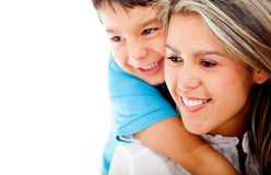 Son hugging his mother Royalty Free Stock Photography