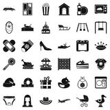 Son icons set, simple style. Son icons set. Simple set of 36 son vector icons for web isolated on white background Stock Photo