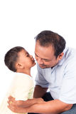 Son kiss his father. Portrait of son kiss his father stock photos