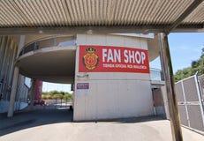 Son Moix exterior. SON MOIX, PALMA DE MALLORCA, SPAIN - JULY 26, 2015: Exterior view of football or soccer stadium on July 26, 2015 in Son Moix, Palma de royalty free stock image