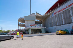 Son Moix exterior. SON MOIX, PALMA DE MALLORCA, SPAIN - JULY 26, 2015: Exterior view of football or soccer stadium on July 26, 2015 in Son Moix, Palma de Royalty Free Stock Images