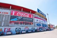 Son Moix exterior. SON MOIX, PALMA DE MALLORCA, SPAIN - JULY 26, 2015: Exterior view of football or soccer stadium on July 26, 2015 in Son Moix, Palma de stock photography