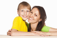 Son with mom Stock Photos