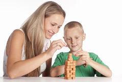 Son and mom play Royalty Free Stock Photos