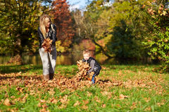 Son and mother playing together royalty free stock photo