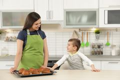 Son and mother with tray of oven baked buns in kitchen royalty free stock images