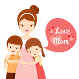 Son och dotter som kramar deras moder stock illustrationer