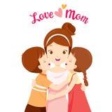 Son och dotter som kramar deras moder och kysser på hennes kinder royaltyfri illustrationer