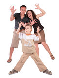 Son and parents stand with  lifted hands. On white Royalty Free Stock Photography