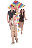 Son and parents start kite. On white Stock Images