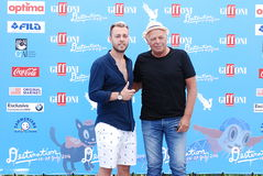 Son Paskal and Enzo Gragnaniello at Giffoni Film Festival 2016. Giffoni Valle Piana, Sa, Italy - July 18, 2016 : Son Paskal and Enzo Gragnaniello at Giffoni Film Royalty Free Stock Photo