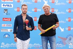 Son Paskal and Enzo Gragnaniello at Giffoni Film Festival 2016. Giffoni Valle Piana, Sa, Italy - July 18, 2016 : Son Paskal and Enzo Gragnaniello at Giffoni Film Royalty Free Stock Photos