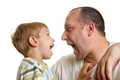 Son playing with father. Little son playing with father Stock Image
